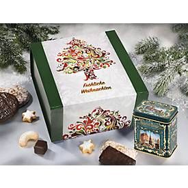 Weihnachtsbox, 825 g, mit Magnetverschluss & Banderole, L 228 x B 235 x H 100 mm, inkl. Elisen-Dose