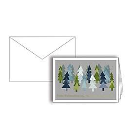 Weihnachtskarte, Weihnachtsbäume-Motiv, Goldfolienprägung, Einlage + Kuvert in Reinweiß, 10 St.