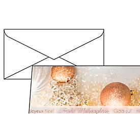 Weihnachtskarten Christmas Glitter, Glanzkarton + Einlageblatt, m. Umschlag, 10 Stück