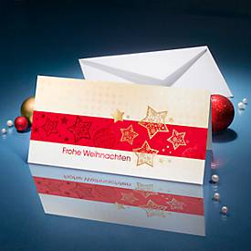 Weihnachtskarten Golden Stars, Goldprägung auf Glanzkarton, inkl. Umschlag, 10 Stück