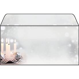 Weihnachtsumschläge Sigel Christmas Silence, DIN lang, 90 g/m², Adventskerzenmotiv, 50 Stück