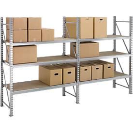 Weitspann-Regal WR 600, Komplettregal 3,6 m, 3 Ebenen, 1 Grund- und 1 Anbaufeld, inkl. 6 Spanplatten