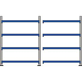 Weitspann-Regal WR 600, Komplettregal 3,6 m, 4 Ebenen, 1 Grund- und 1 Anbaufeld inkl. 8 Spanplatten