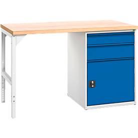 Werkbank, 2 Schubladen und 1 Tür, Breite 1500 oder 2000 mm, mit oder ohne Schloss