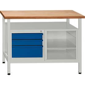 werkbank mit 1 fachboden und 3 schubladen g nstig kaufen sch fer shop. Black Bedroom Furniture Sets. Home Design Ideas