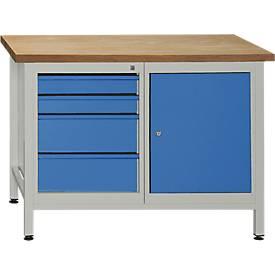 Werkbank mit 1 Tür, 1 Fachboden und 4 Schubladen