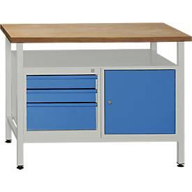 Werkbank mit 1 Tür, 1 Fachboden und 3 Schubladen