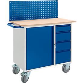 Werkbank mit Schrank, 4 Schublade und Multiwand/Lochmodulplatte