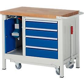 Werkbank Modell 8185, fahrbar, absenkbar, mit Schrank und Schubladen