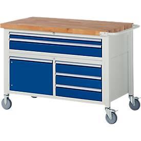 Werkbank Serie 8922, fahrbar, 5 Schubladen, 2 Fachböden mit Tür