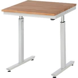 Werktisch Serie adlatus 300, Buche-Massiv-Platte, B 750 x T 800 H x 750 - 1120 mm