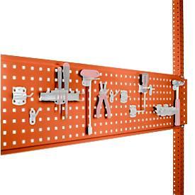 Werkzeug-Lochplatte, für Tischbreite 1250 mm, f. Serie Universal/Profi, rotorange RAL 2001
