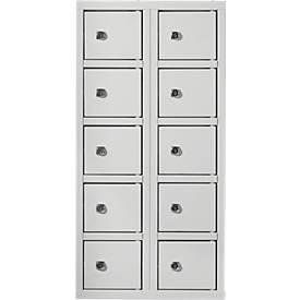 Wertfachschrank, Türen mit Zylinderschlössern, inkl. Schlüsseln, Stahlblech, lichtgrau RAL 7035, 10 Fächer