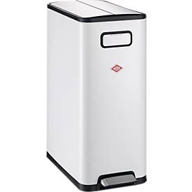 Wesco-afvalbak Big Double Master, 20 liter inhoud, wit, met een inhoud van 20 liter.