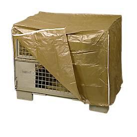Wetterfeste Abdeckhaube für Gitterbox, 2 Reißverschlüsse, braun