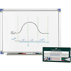 Whiteboard 900 x 1200 mm + 4 FABER-CASTELL Whiteboardmarker GRATIS
