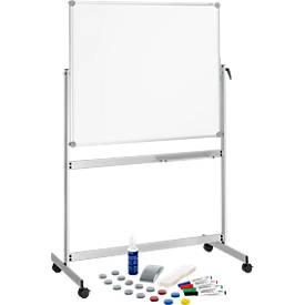 Whiteboard Maulpro, mobil, drehbar, doppelte Arbeitsfläche, gratis Starter-Set