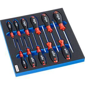 WIHA Schraubendrehersatz in Hartschaumeinlage, 11-tlg., für Schrankserie FS4, Maße 299 x 437 mm