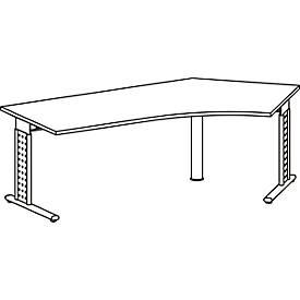 Winkelschreibtisch 135° ALICANTE, C-Fuß, Ansatz rechts, B 2166 x T 800 x H 680-820 mm