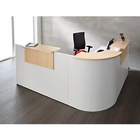 Winkeltheke Come-In, rund, 3 Ablagen, Breite 1600 mm, Eckelement silber oder weiß