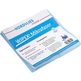 WIPEX microvezel-reinigingsdoek, meerdere keren wasbaar, reinigen zonder strepen, 50 stuks, lichtblauw