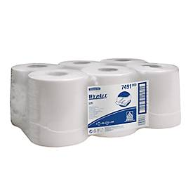 WYPALL® Reinigingsdoekjes L-10 EXTRA+, centrale uitname RCS, 6 rollen van 400 doeken, 1-laags, # 7491, wit