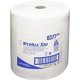 WYPALL® Reinigingsdoekjes X-80, hydroknit materiaal, rol van 475 doeken, 1-laags, wit