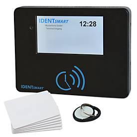 Zeiterfassungssystem IdentSmart ID500, ID per RFID, bis zu 250 Nutzer, keine Softwareinstallation nötig, Netzteil & 25 Karten