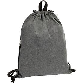 Zugbeutel JERSEY, mit seitlicher Reißverschlusstasche, Werbedruck  230 x 250 mm, anthrazit