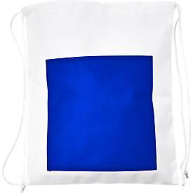 Zugbeutel SIMPLY, Non-Woven Vliesgewebe, inkl. Werbedruck 1-farbig 150 x 150 mm, Fronttasche in blau, Set mit 100 Stück