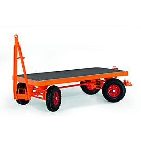 Zware aanhanger, 4-wielbesturing, massief rubberen banden, draagvermogen 5000 kg, 2500 x 1250 mm.
