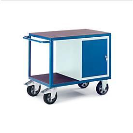 Zware werkplaatswagen met stalen kast, 1000 x 700 mm, draagvermogen 1000 kg.
