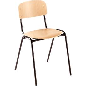 Houtenstoel voor collectieve ruimtes, met onderstel van stalen buis, bruin