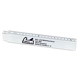 2-m-Fiberglas-Zollstock, Weiß, Standard, Auswahl Werbeanbringung optional