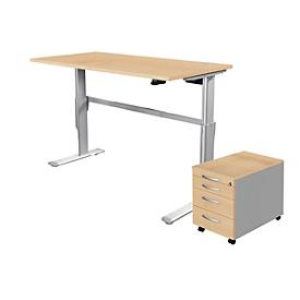 2-tlg. Büromöbel-Set, Schreibtisch STANDARD, elektrisch höhenverstellbar, Ahorn/weißaluminium RAL 9006 + Rollcontainer 1233