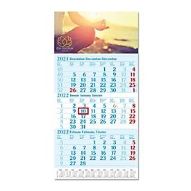 3-Monats-Kalender, mit Datumschieber, L 590 x B 300 mm, Werbedruck 280 x 130 mm, hellblau, Auswahl Werbeanbringung erforderlich