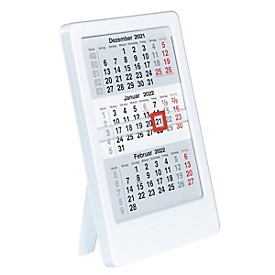 3-Monats-Tischkalender, doppelseitig bedruckt, B 120 x T 10 x H 160 mm, Werbedruck 100 x 20 mm, weiß, Auswahl Werbeanbringung optional