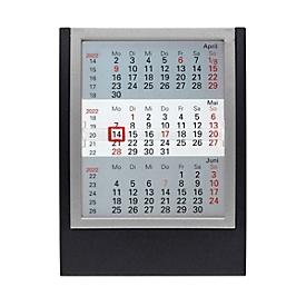 3-Monats-Tischkalender, Tischaufsteller, B 130 x H 174 mm, Werbedruck 110 x 25 mm, schwarz/silber, Auswahl Werbeanbringung optional