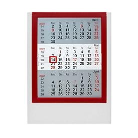 3-Monats-Tischkalender, Tischaufsteller, B 130 x H 174 mm, Werbedruck 110 x 25 mm, weiß/rot, Auswahl Werbeanbringung optional