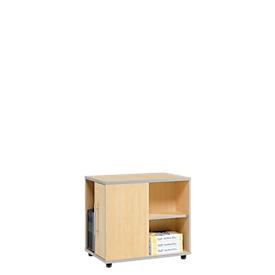 Aanbouwladeblok Moxxo IQ, pc-towervak, 1 deur, 2 zijdelingse vakken, B 551 x D 800 x H 720 mm, esdoornpatroon