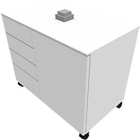 Aanbouwladeblok SOLUS PLAY, 4 schuifladen, 1 vleugeldeur, B 800 x D 500 x H 720 - 1080 mm, wit