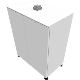 Aanbouwladeblok SOLUS PLAY, verrijdbaar, 2 vleugeldeuren, B 800 x D 500 x H 720 - 1080 mm, wit