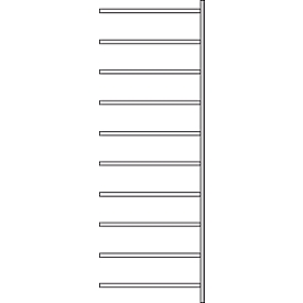 Aanbouwstelling R 3000, 10 legborden, B 1025 mm x D 300 mm, gegalvaniseerde legborden