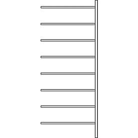 Aanbouwstelling R 3000, 8 legborden, B 1025 mm x D 300 mm, gegalvaniseerde legborden