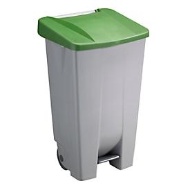Abfalleimer Sunware Basic, 120 l, mit Fuß-Pedal & Rädern, Klappdeckel grün