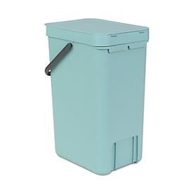 Abfallsammler Sort & Go, rechteckig, mit Wandhalterung, Deckel & Griff, 16 l, Kunststoff, mintgrün