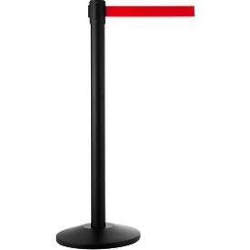 Absperrpfosten mit Standfuß, schwarz, Gurt rot