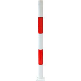 Absperrpfosten zum Aufdübeln, ohne Ösen, weiß/rot