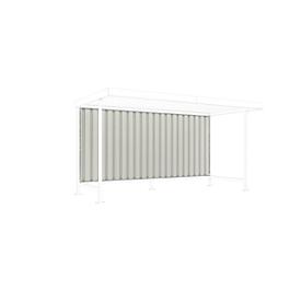 Achterwand voor het daksysteem WSM Leipzig-basiselement, B 2870 mm, trapeziumvormige metalen platen, grijswit RAL 9002