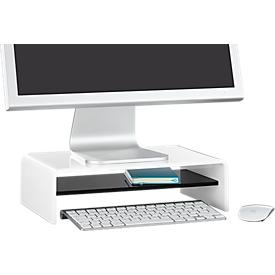 Acryl-mediadrager U-vorm met legbord, 350 x 230 x 100 mm, wit/zwart